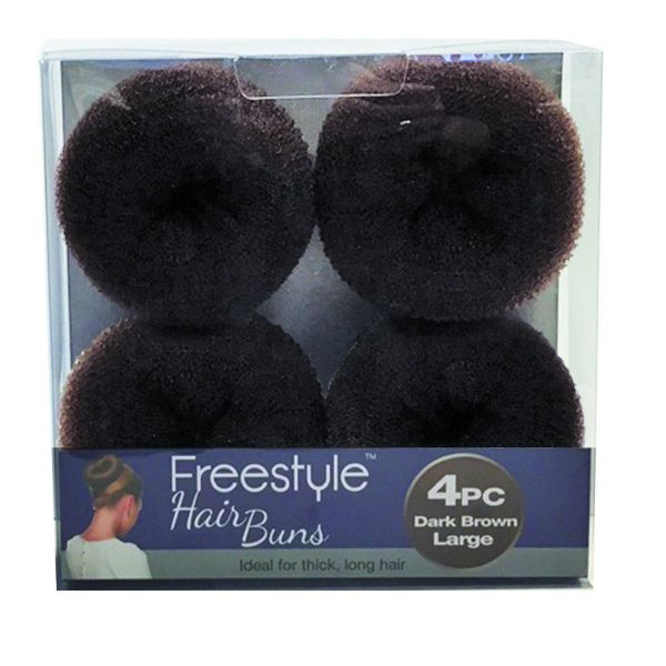 Freestyle 4pc Hair Bun Large Dark Brown