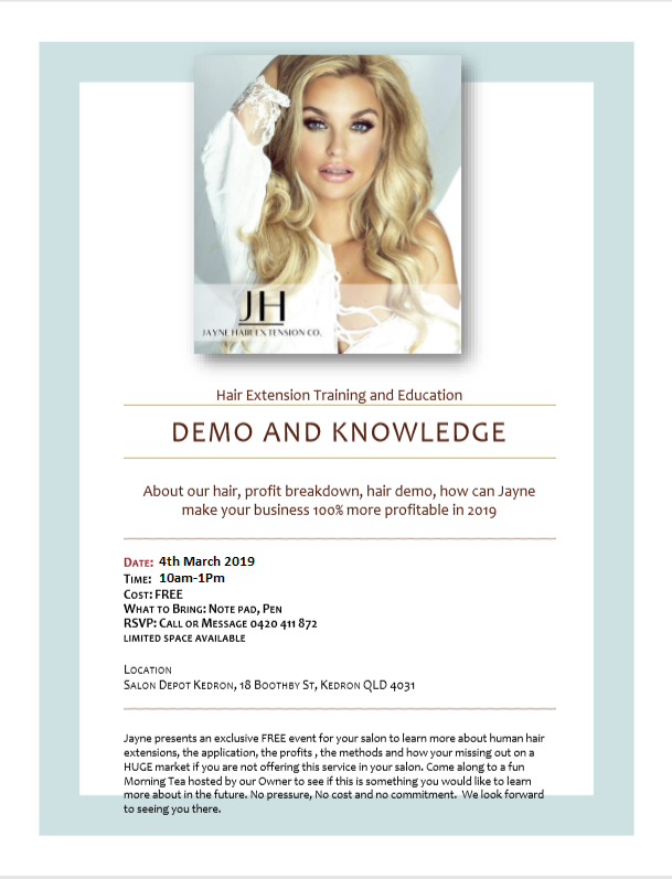 Jayne Hair Extension – Demo and Knowledge