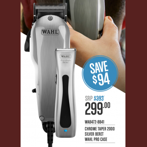 Wahl Chrome Taper 2000 & Silver Beret Combo
